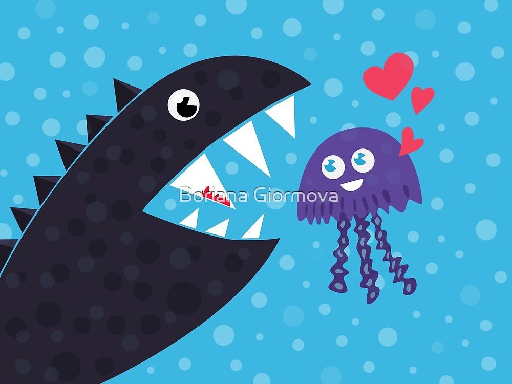 Impossible Love - Funny Jellyfish And Sea Monster by Boriana Giormova