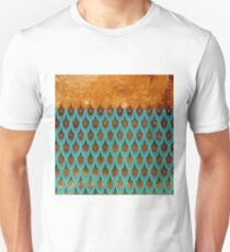Shiny Blue Teal Copper Glitter Mermaid Fish Scales  T-Shirt