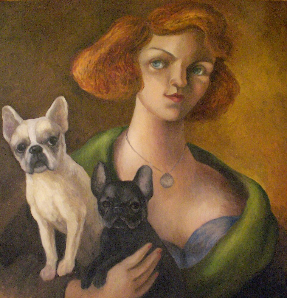 Woman with her French Bulldogs by Jocelyn Bullock