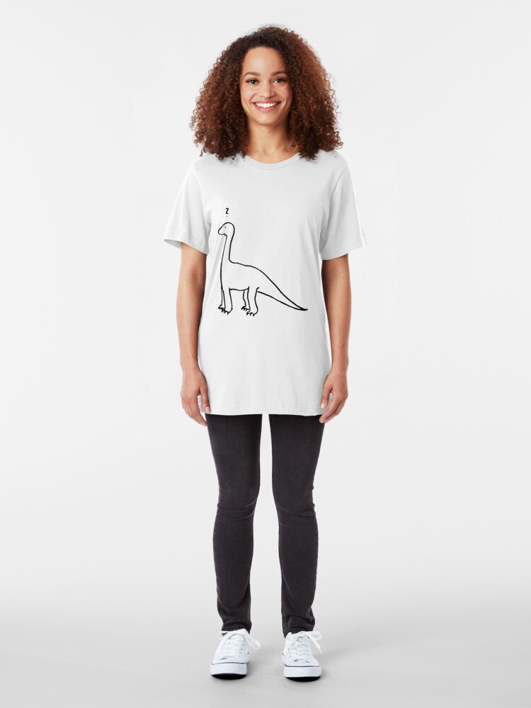Alternate view of The Quizzical Dinosaur Slim Fit T-Shirt