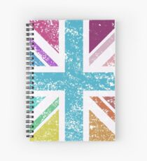 Distressed Col Union Jack/Flag Sq Spiral Notebook