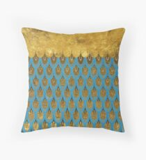 Shiny Blue Teal Gold Glitter Mermaid Fish Scales Throw Pillow