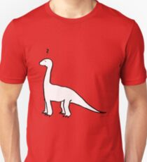 The Quizzical Dinosaur (solid white) Unisex T-Shirt