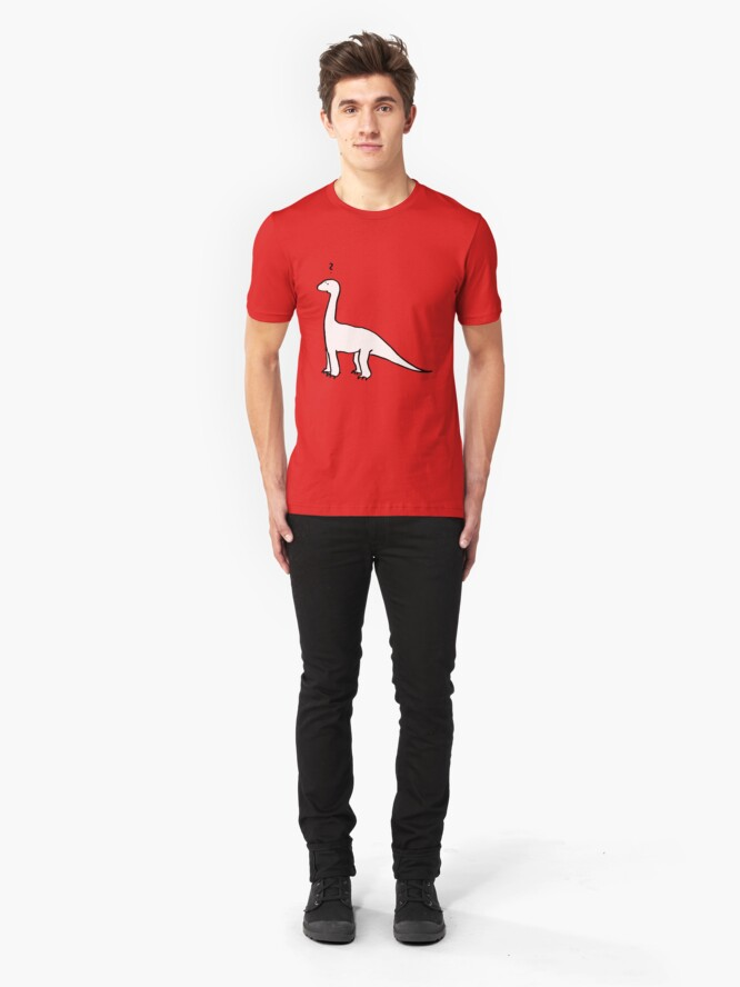 Alternate view of The Quizzical Dinosaur (solid white) Slim Fit T-Shirt