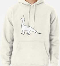 The Quizzical Dinosaur (solid white) Pullover Hoodie