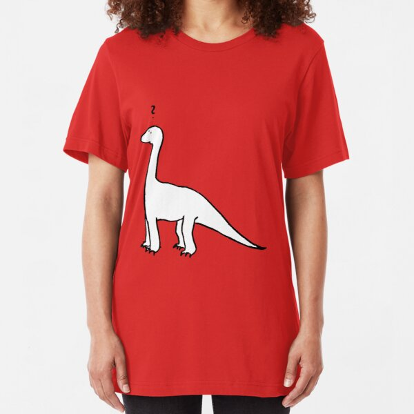 The Quizzical Dinosaur (solid white) Slim Fit T-Shirt