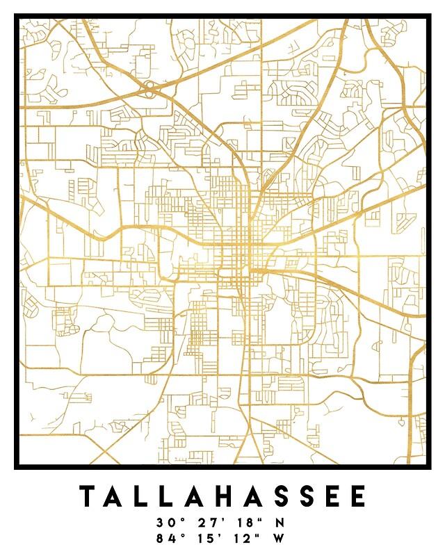 TALLAHASSEE FLORIDA CITY STREET MAP ART   Art Print