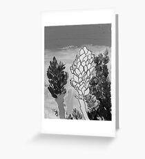 Alpinia purpurata – Red Ginger Flower - Black and White Greyscale Greeting Card