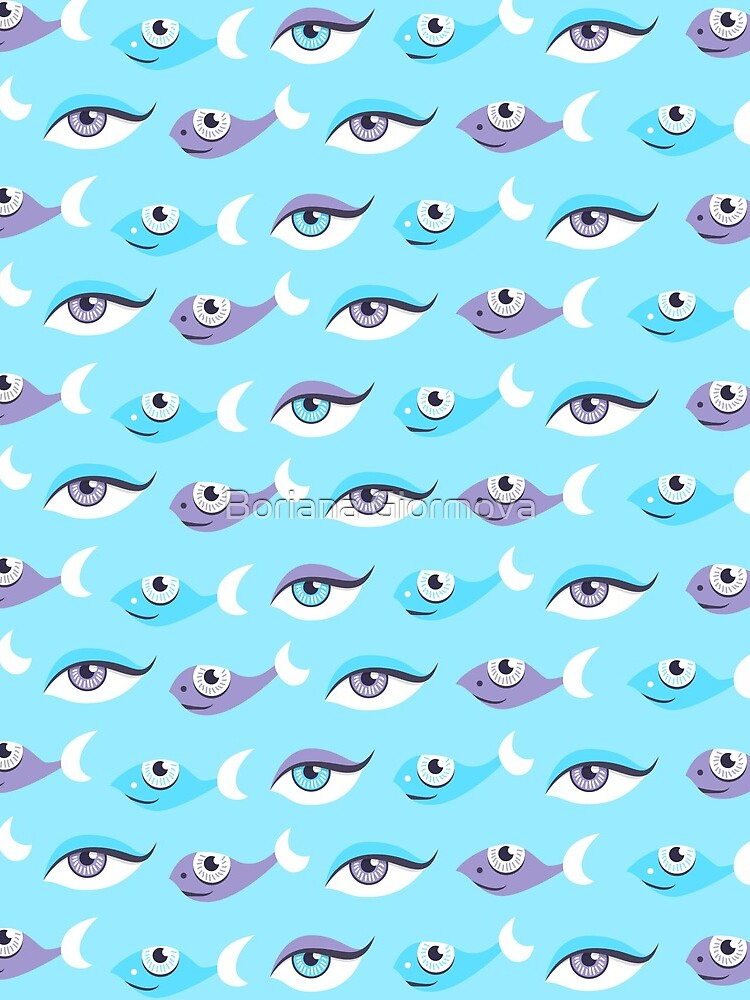 Pattern of blue eyes and fish in sea by azzza
