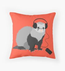 Funny Musical Ferret Throw Pillow