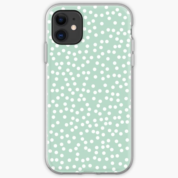 Mint Green and White Polka Dots Pattern iPhone Soft Case