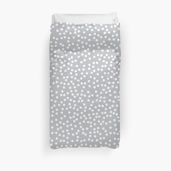 Silver Gray and White Polka Dots Pattern Duvet Cover