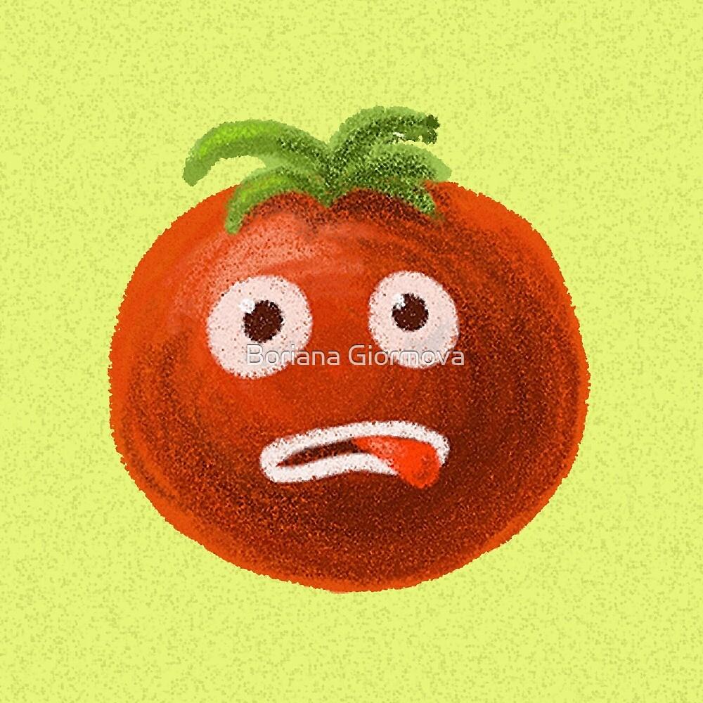 Green Funny Cartoon Tomato by Boriana Giormova
