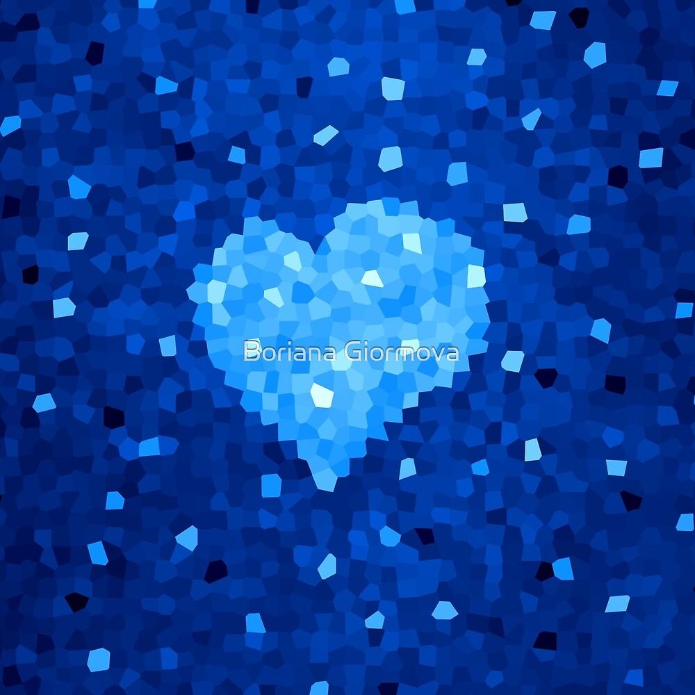 Winter Blue Crystallized Abstract Heart by Boriana Giormova