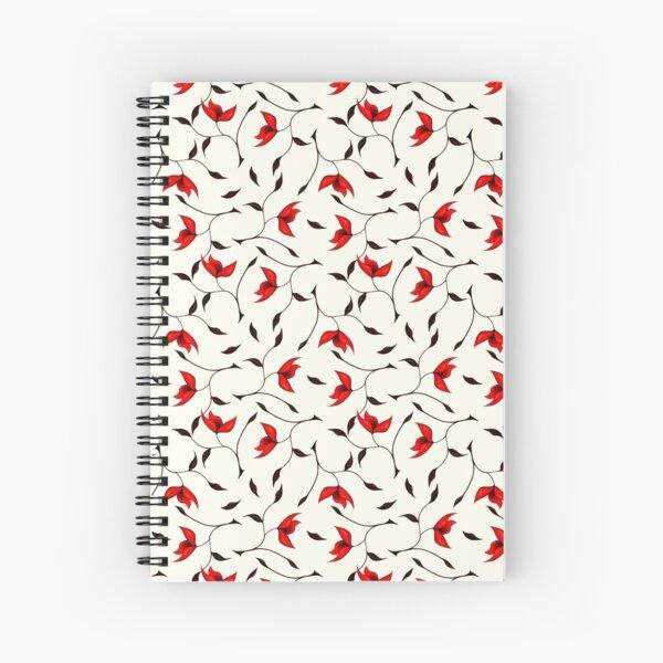 Delicate Red Flower Pattern Spiral Notebook