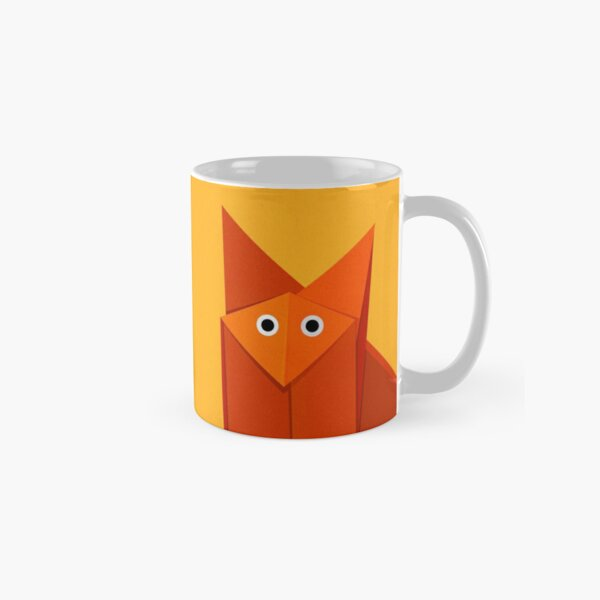Yellow Geometric Cute Origami Fox Classic Mug