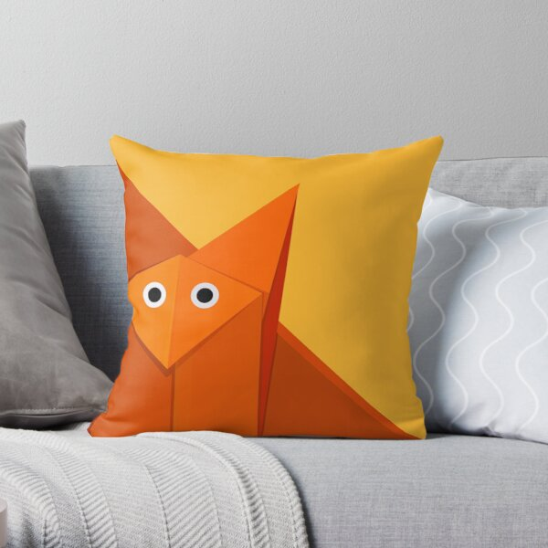 Yellow Geometric Cute Origami Fox Throw Pillow