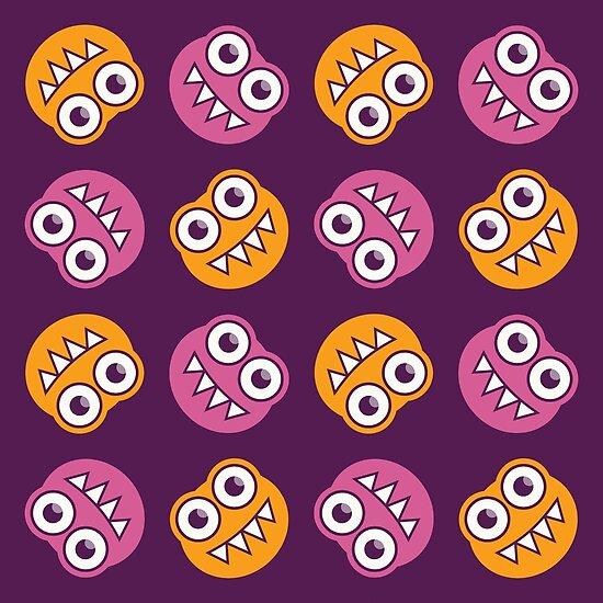 Purple Pink And Orange Cute Bugs Pattern by Boriana Giormova
