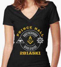 Freemason Prince Hall Masonic Symbol Illuminati T-Shirt Women's Fitted V-Neck T-Shirt