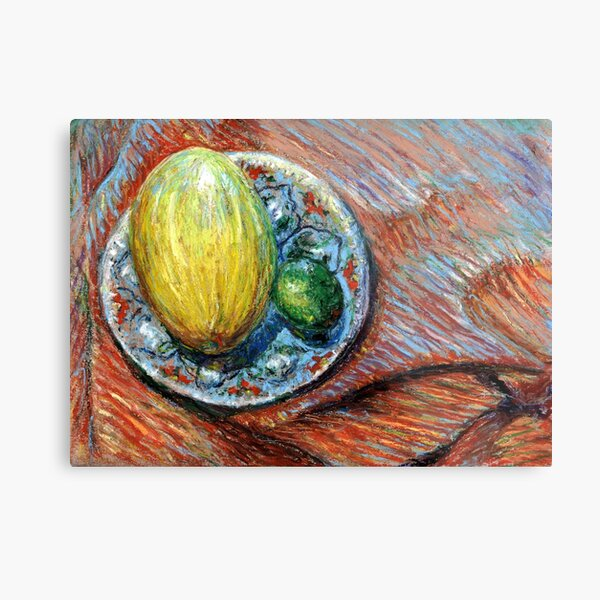 Still Life with a Yellow Melon Metal Print