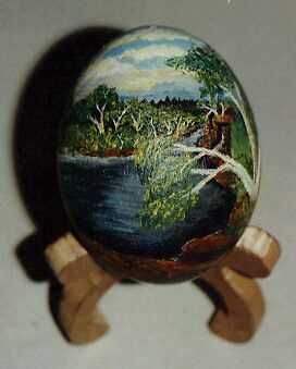 Painted Ostrich egg by Ngarnamurrah