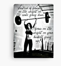 Weight - Focus On Barbell Going Up Canvas Print