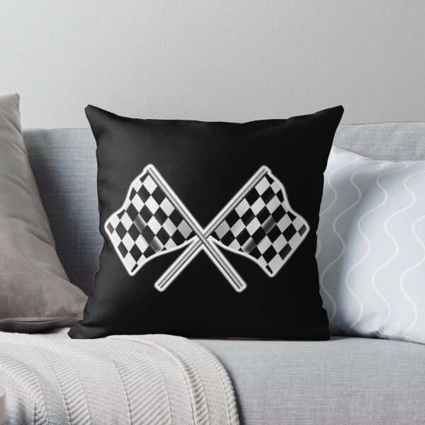 RACE. CAR. Checkered Flag, Crossed, Motorsport, WIN, WINNER, Chequered Flag, Racing Cars, Race, Finish line, on BLACK. Throw Pillow