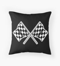 RACE, CAR, Checkered Flag, Crossed, Motorsport, WIN, WINNER, Chequered Flag, Racing Cars, Race, Finish line, on BLACK Throw Pillow