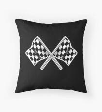 RACE, CAR, Checkered Flag, Crossed, Motorsport, WIN, WINNER, Chequered Flag, Racing Cars, Race, Finish line, on BLACK Floor Pillow