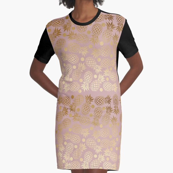 Elegant gold pineapple pattern Graphic T-Shirt Dress