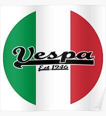 Team Vespa - Italian Flag Round Poster