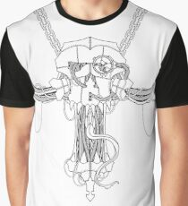 Cyberart Decayed Skull White Graphic T-Shirt
