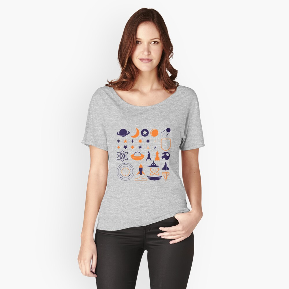 Space Illustrations Pattern Women's Relaxed Fit T-Shirt Front