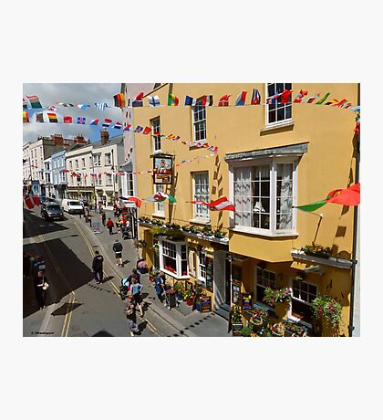 Looking Down at Life on the Street at Tenby, Wales Photographic Print