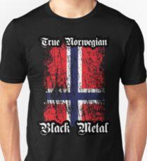 True Norwegian Black Metal - Norwegian Flag Edgewise Unisex T-Shirt