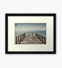 Sunset on the beach and gateway Framed Print