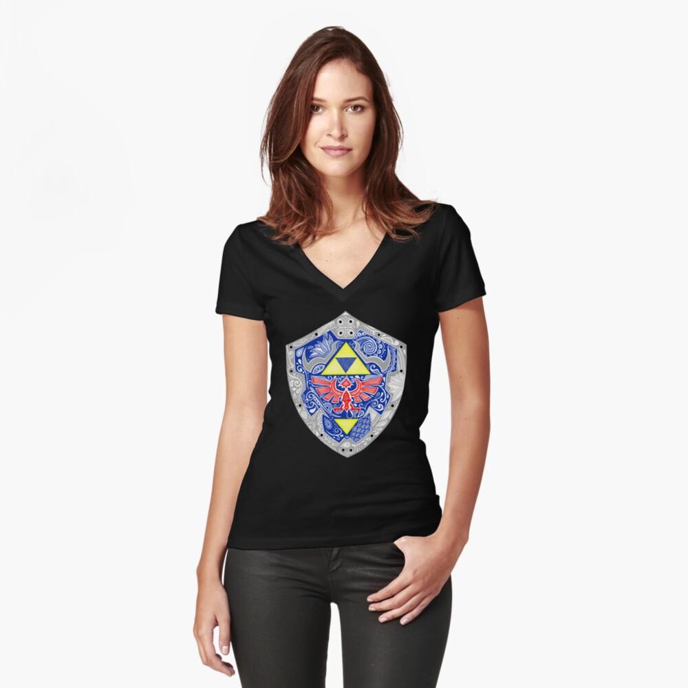 Zelda - Link Shield Doodle Camiseta entallada de cuello en V
