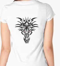 SERIOUS, TRIBAL, DRAGON, FACE, ON WHITE Women's Fitted Scoop T-Shirt