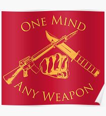 One Mind Any Weapon - US Marine Corps Martial Arts (MCMAP) - USMC Yellow/Red Poster