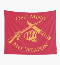 One Mind Any Weapon - US Marine Corps Martial Arts (MCMAP) - USMC Yellow/Red Wall Tapestry