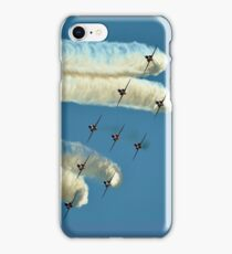 Red Arrows trailing smoke across the sky iPhone Case/Skin