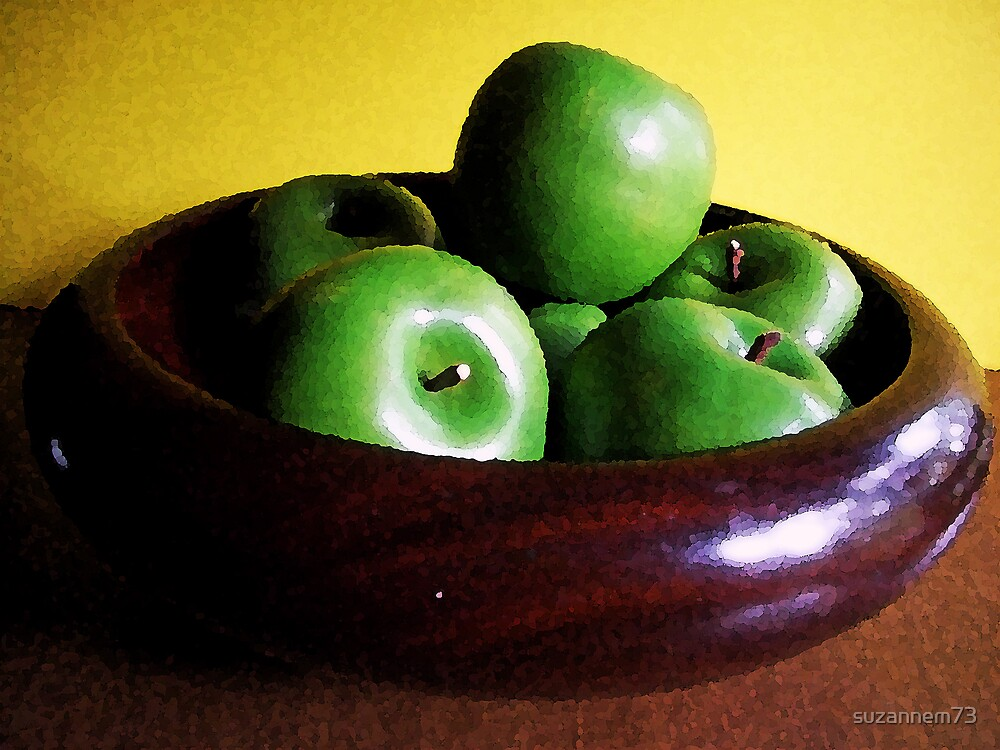 Old Wooden Bowl with Green Apples by suzannem73