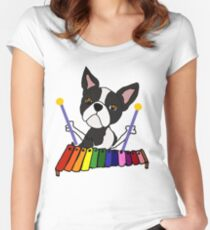 Cute Boston Terrier Dog Playing Xylophone Cartoon Women's Fitted Scoop T-Shirt