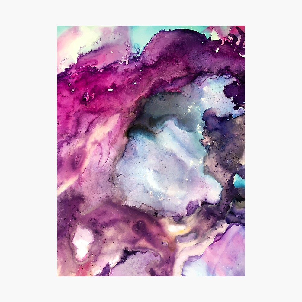 Purple Fusion - Mixed Media Painting Photographic Print