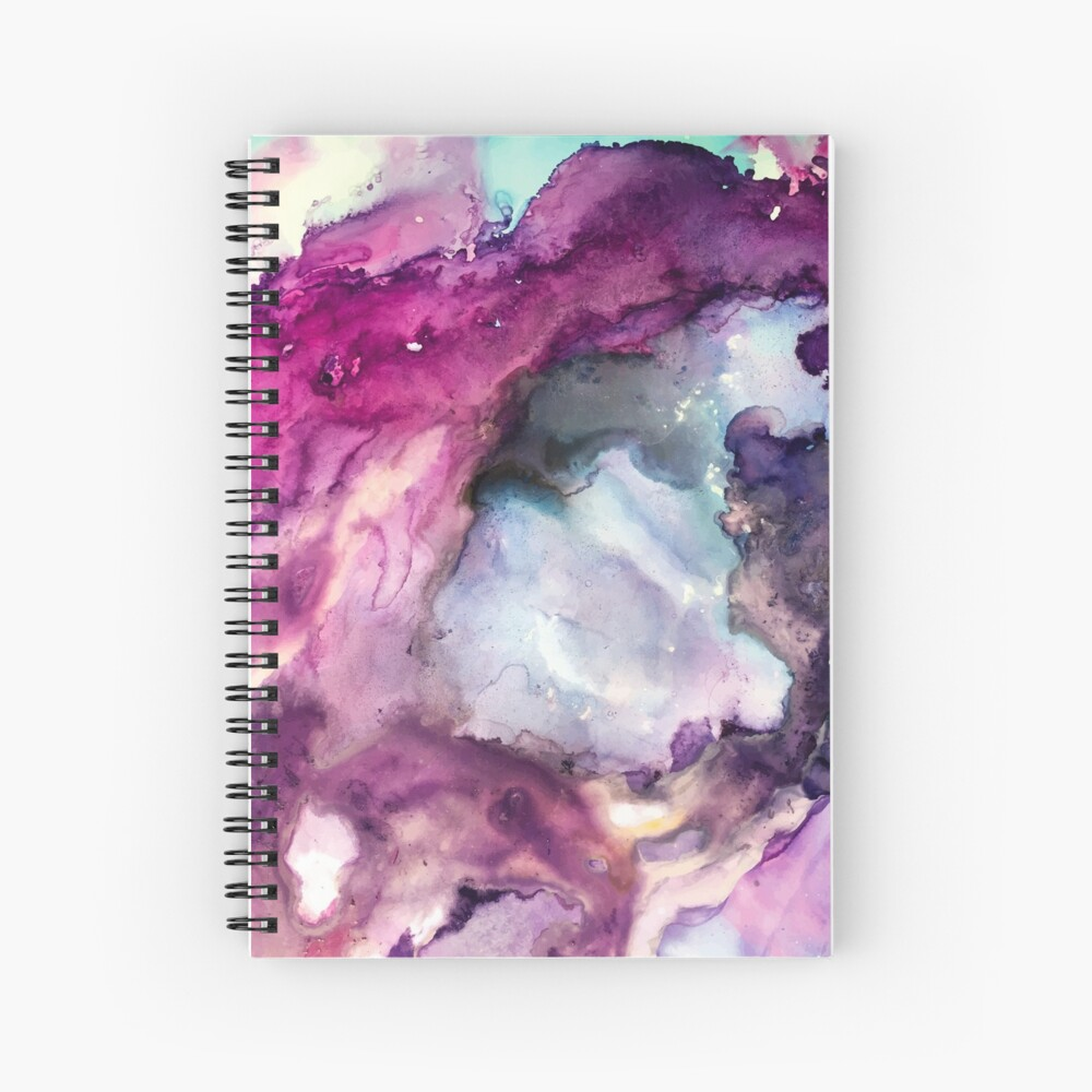 Purple Fusion - Mixed Media Painting Spiral Notebook