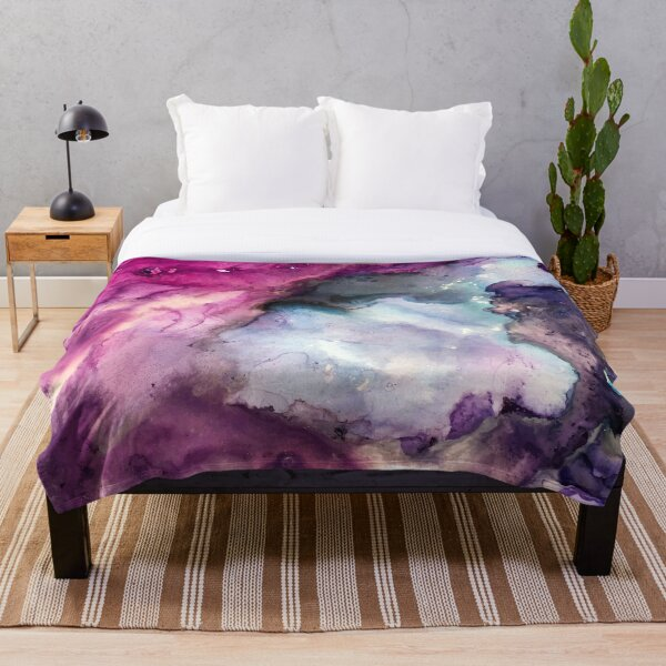Purple Fusion - Mixed Media Painting Throw Blanket