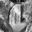Upper Yellowstone Falls in Black and White by Bo Insogna