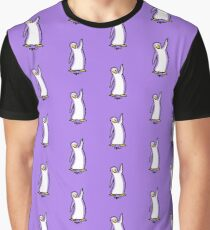 Purple Penguin Says Hello Graphic T-Shirt