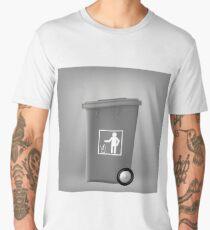 Grey PlasticTrashcan Isolated on Grey Backgrouund. Grey Trash Bin Men's Premium T-Shirt