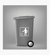 Grey PlasticTrashcan Isolated on Grey Backgrouund. Grey Trash Bin Photographic Print
